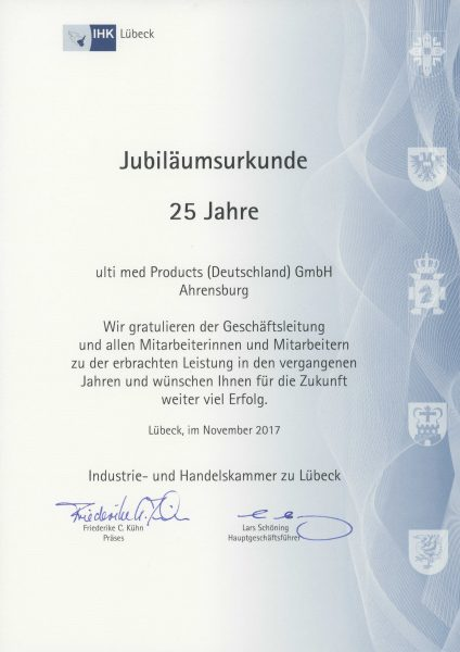 25 years ulti med Products (Deutschland) GmbH